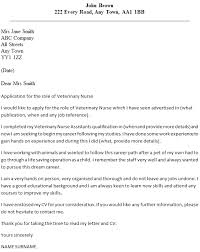 Work Experience Cover Letter Veterinary Nurse Cover Letter