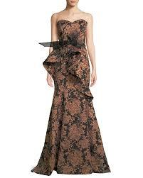 Bergdorf Goodman Designer Evening Gowns Strapless Sculpted Ruffle Jacquard Evening Gown