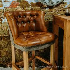 jasper leather harris tweed bar stool