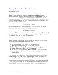 Writing A Resume Summary Useful Photo Best Statements Objective Or