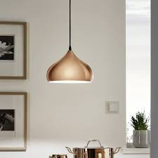 eglo hapton polished copper pendant light kitchen lighting from dusk lighting uk