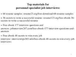 Personnel Specialist Job Description Personnel Specialist Resume Sample Pdf Ebook Free Download