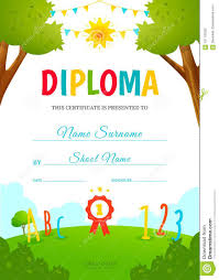 Kids Certificate Border Kids Diploma Template Stock Vector Illustration Of Border
