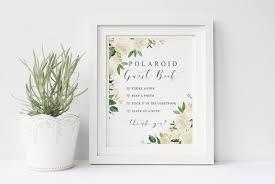 Polaroid Guest Book Wedding Sign Printable Garden White Cream