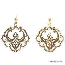 golden filigree chandelier earrings w rhinestones