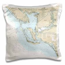Nautical Chart Pillows 3drose Print Of Ft Myers To Charlotte Harbor Nautical Chart Pillow Case 16 By 16 Inch