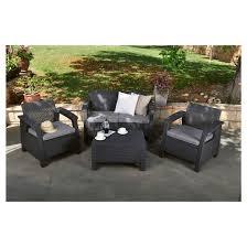 Corfu Patio Lounge Set with Cushions Gray Keter Tar