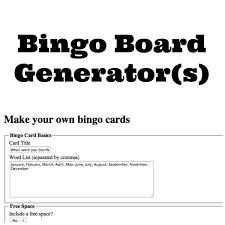 Free Custom Bingo Card Generator Breitensportlehrgang De