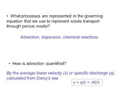 what processes are represented in the governing equation that we use to represent solute transport through