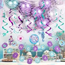 mermaid theme baby shower girl birthday party decorations hanging swirl balloons under the sea birthday party favor supplies party diy decorations