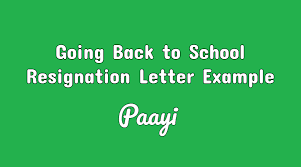 How To Write A Quitting Letter Going Back To School Resignation Letter Example Paayi