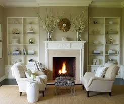 traditional beige living room with fireplace