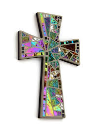 mosaic wall cross large black gray with iridescent glass silver mirror handmade stained glass mosaic cross wall decor 15 x 10