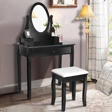 gymax bathroom wooden mirrored makeup vanity set stool table set black walmart