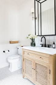 Neutral farmhouse bathroom with vertical shiplap, hex floor tile and ...