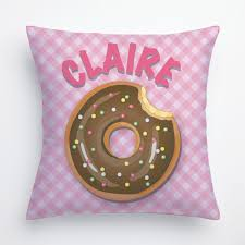 Personalized Bedroom Decor Yummy Donut Personalize Pillow Green Room Decor Kids