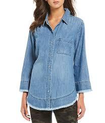 Liverpool Jeans Company Fray Trim Button Front Denim Shirt