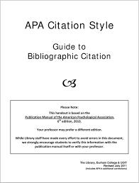 Apa Citation Style Guide To Bibliographic Citation Pdf