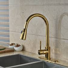 columbine gold finish kitchen sink faucet with pull out sprayer