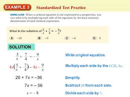 example 3 standardized test practice solution 5 x 7 4 9 x