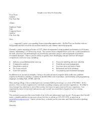 Sample Finance Internship Cover Letter Sample Finance Internship Cover Letter Examples Of Letters For Bogas