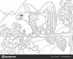 De Roofvogel Is Een Adelaar Op Een Boomtak Valk Op De Kerstboom