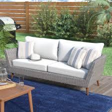 langley street newbury patio sofa with cushions reviews wayfair outdoor patio outdoor patio rugs