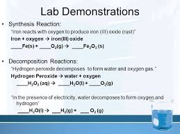 lab demonstrations synthesis reaction decomposition reactions