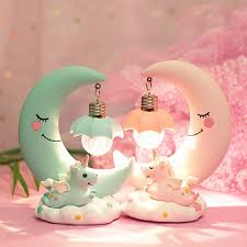 Ins Moon Unicorn Resin Led Nightlight Baby Nursery Bedside Table
