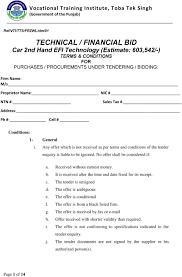 Technical Financial Bid Car 2nd Hand Efi Technology Estimate