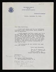 Letter From The American Embassy In London To Lady