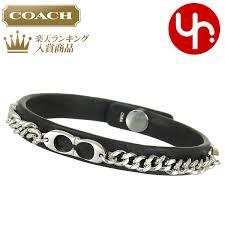 coach coach accessories bracelets f99992 black signature chain leather bracelet products women s brand 2016 yr limited