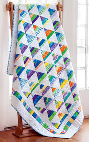 Strippy Pyramids–Modern Fat Quarter Friendly Scrap Quilt | Block ... & Combine colorful strips of fabric with a crisp white to make this cheery  pyramid block quilt Adamdwight.com
