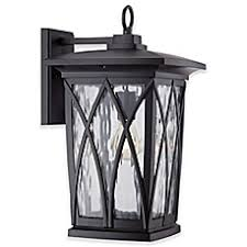 image of quoizel grover 175 inch outdoor wall lantern in matte black with cfl bulb bed bath and beyond lighting