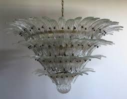 Italienischer Vintage Palmette Kronleuchter Aus Glas 1978