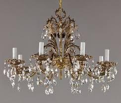 27 spanish brass czech crystal chandelier c1950 vintage antique red gold