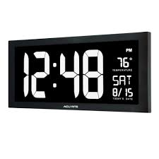 large led clock with indoor temperature in white display