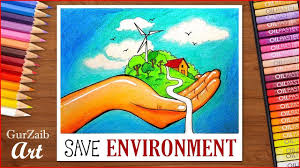 How To Draw Save Environment Poster Chart For School