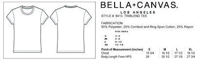 Bella Canvas Hoodie Size Chart Sizing Radcakes Shirt Printing