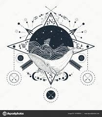 графические татуировки кит под водой тату искусства кита в море