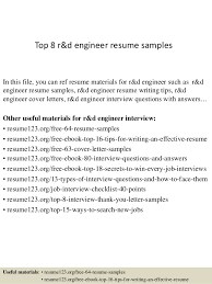 How To Write A Excellent Resume New Top 48 Rd Engineer Resume Samples