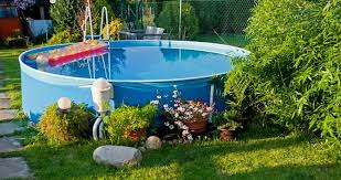 above ground swimming pool ideas. Small Soft-sided Above Ground Swimming Pool In A Small Yard Ideas 0
