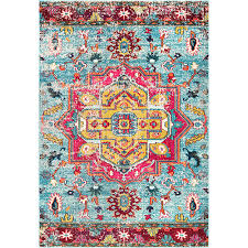 nuloom pink clorinda tribal medallion rectangular 5 ft 3 in x 7 ft 7 in