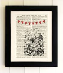 Upcycled Wall Art Art Print On Old Antique Book Page Alice In Wonderland Playing