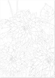 夏の花ダリアの花の無料イラスト大人の塗り絵白黒 無料