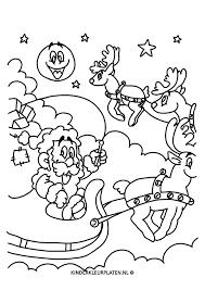 Kleurplaat Kerstman Arreslee Kleurplaat Feestdagen