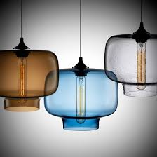 modern colorful clear glass shade pendant lamp