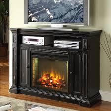 legends furniture 58 in w rustic black fan forced electric fireplace