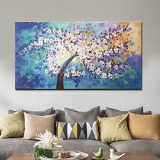 canvas painting palette knife 3d texture acrylic white flowers cuadros decoracion wall art pictures for living room home decor14