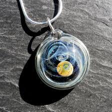 custom made hand blown round glass pendant with galaxy design